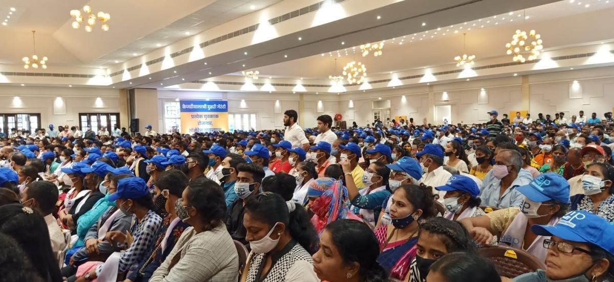 तीन हजार बूथ स्वयंसेवकांनी दिल्या अरविंद केजरीवाल यांना शुभेच्छा